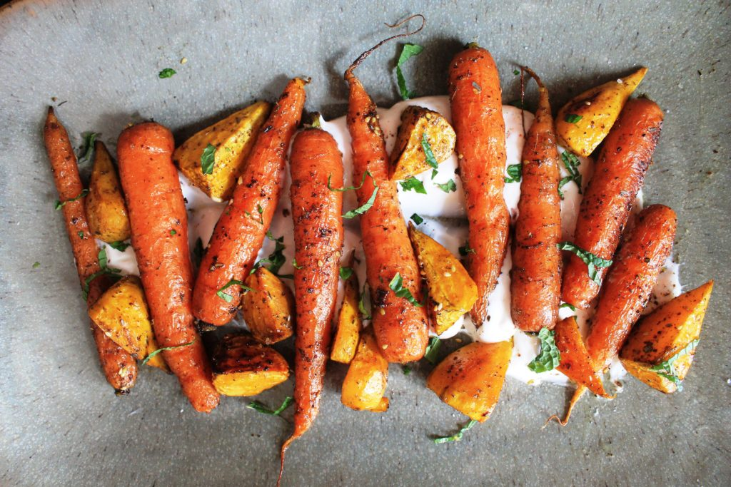 Za'atar Roasted Carrots and Golden Beets with Spicy Yogurt