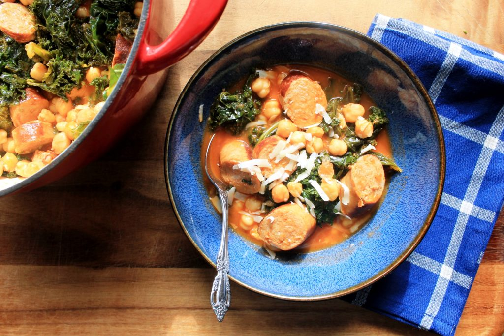 Sausage Kale and Chickpeas in Spicy Tomato Oil