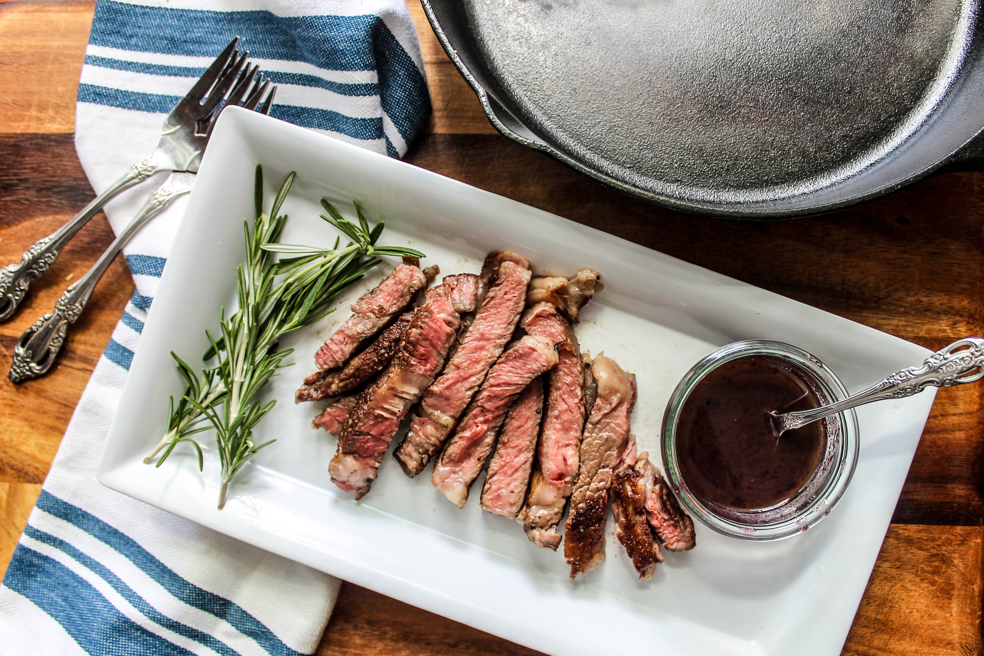 Cast Iron Skillet Steak with Red Wine Sauce